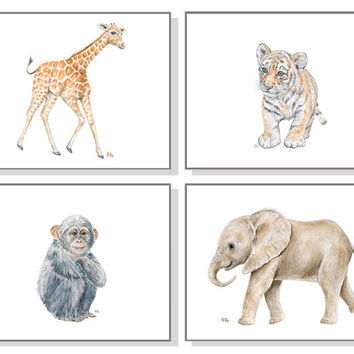 Jungle Nursery Wall Art Jungle Nursery Art Prints Baby Animal Watercolors Safari Nursery Decor Elephant Giraffe Tiger Monkey Set of 4 Prints