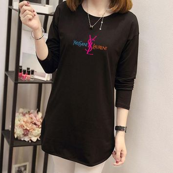 yves saint laurent women simple casual letter print long sleeve middle long section t shirt tops-1