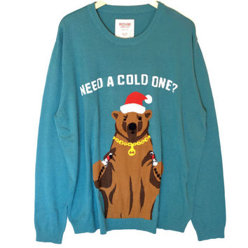 Need A Cold One? Beer Bear Tacky Ugly Christmas Sweater – Big & Tall