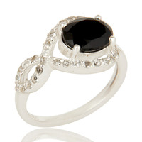 925 Sterling Silver Black Onyx And White Topaz Gemstone Ring