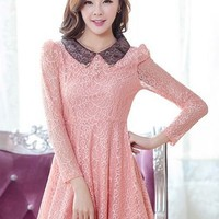 Kawaii Lolita V Collar Lace Long Sleeve Dress - Green, Pink or Claret - S M L XL from Tobi's Finds