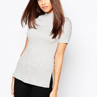 Warehouse Ribbed High Neck Top