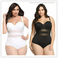 The new fertilizer to increase the fat man net yarn splicing solid color swimwear [9868132684]