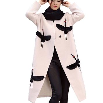 New 2017 Women Crane Embroidery Coat Wool Blend Overcoat Long Woolen Outerwear Double Breasted Wool Overcoat Trench