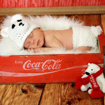 Newborn Polar Bear Hat and Diaper Cover Photography by makinitmama