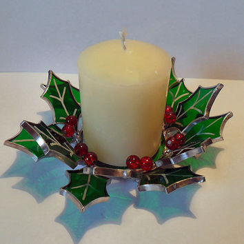 Stained Glass Christmas Holly Candle Holder, Holly Candle Stand