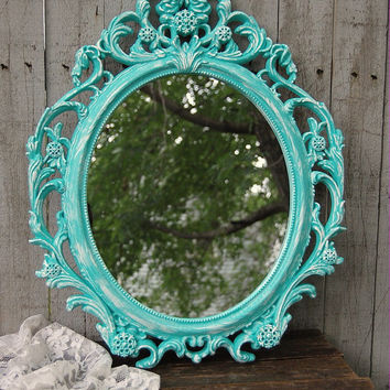 Shabby Chic Mirror, Baroque Mirror, Tiffany Blue, White, Oval, Upcycled, Ornate, Wedding Decor, Painted Mirror, Hollywood Regency, Aqua