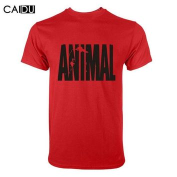 DK7G2 Trends in 2016 fitness cotton brand clothes for men Animal print tracksuit t shirt muscle shirt bodybuilding Tee large XXL