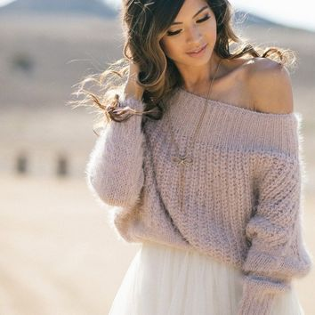 Demi Off the Shoulder Eyelash Knit Sweater