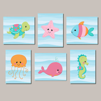 Under The Sea Nursery Art, Girl Nursery Wall Art, Sea Life, Sea Animals, Girl Nursery Decor, Bathroom Decor Set of 6 Prints Or Canvas