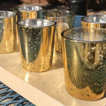 Mercury Glass GOLD Votive Candle Holders Set of 6 + LED Candles