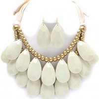 Trendy Clothing, Fashion Shoes, Women Accessories | Tear Drop Bead & Fabric Necklace in Ivory  | LoveShoppingMiami.com