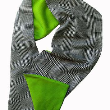Herringbone Wool & Green Silk Scarf
