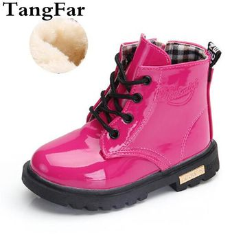 New Girls Snow Boots Winter Warm Fur PU Leather Children Boots Rubber Waterproof Fashion Sneakers Boys Kids Martin Boots Shoes