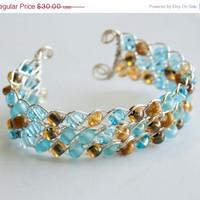 Christmas Sale LIght Blue Amber Honey and Brown Braided Wire Wrapped Cuff, Gifts under 30