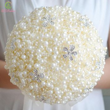 Flower Crystal Beading Pearl Wedding Bouquets Romantic Bridesmaid Bouquets Wedding Accessories