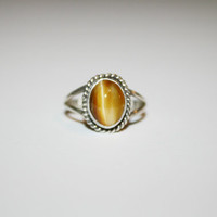 Size 6.25 - Orange Tiger Eye Vintage Womens Ring Sterling Silver- free ship US