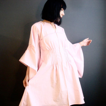 Pale Pink Linen Dress - iheartfink Handmade Womens Kimono Bell Sleeves Modern Bohemian Wearable Art Beautiful Boho Solid Pink Linen Dress