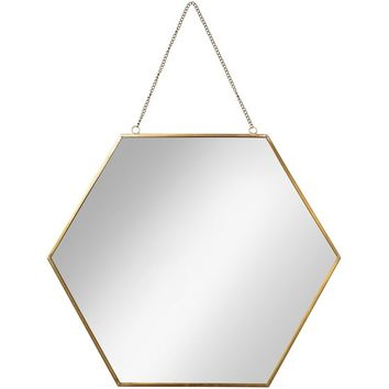 Large Gold Hexagon Mirror | Oliver Bonas
