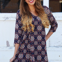 Navy + Paisley Spring Dress