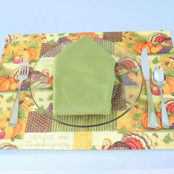 Thanksgiving Placemats, Holiday, Fall, Autumn, Dining Table Linens, Place Mats, Housewarming Gift, Rectangle, Reversible,Set of 2