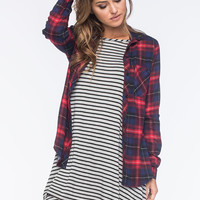 POLLY & ESTHER Challis Plaid Womens Boyfriend Shirt | Shirts & Flannels