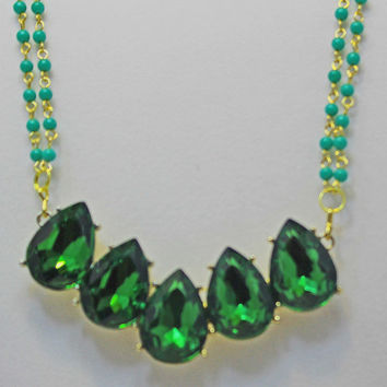Emerald Green, Pendant Necklace, May Birthstone, Multi Strand Necklace, Emerald Green Beads, Statement Necklace,  Earring Gift with Purchase