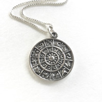 Astral Wheel Necklace Sterling Silver Astrology Calendar Necklace, Astral Pendant Necklace Zodiac Horoscope Chart Necklace
