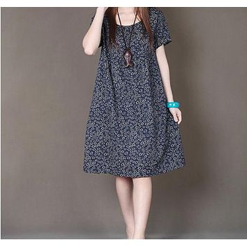 spring summer new ladies fashion loose big size small floral print short-sleeve dress women clothing  casual cotton  linen dress