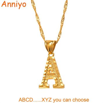 Anniyo Small Letters Necklaces for Women Girls Gold Color Initia cbeb981e49