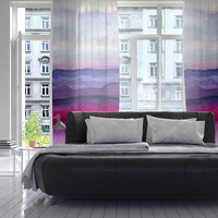 """Marco Gonzalez """"A 0 24"""" Purple Pink Abstract Modern Painting Mixed Media Decorative Sheer Curtain"""