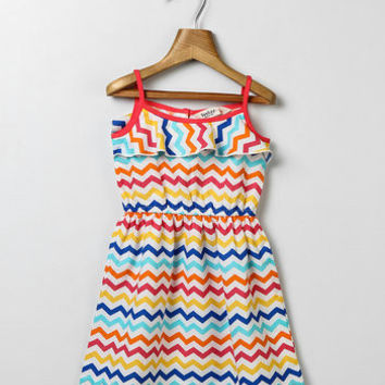 Red and Yellow Chevron Dress-Girls