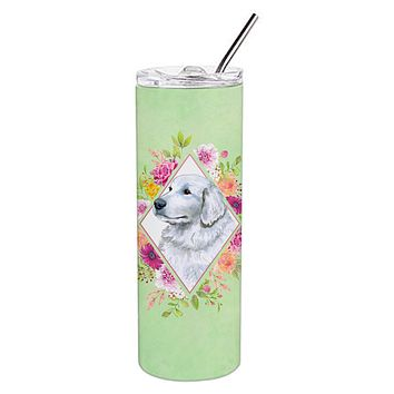 Great Pyrenees Green Flowers Double Walled Stainless Steel 20 oz Skinny Tumbler CK4320TBL20