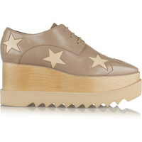 Stella McCartney - Star-patterned faux leather wedge lace-ups