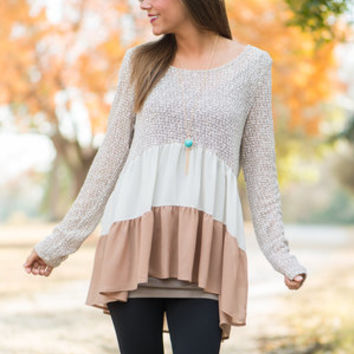 Sheer Tiers Top, Taupe-Ivory
