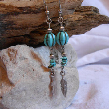 Turquoise and Silver Feather Dangle Earrings, Handmade, Native American Inspired, OOAK
