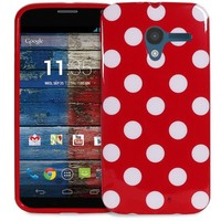 Fosmon DURA POLKA Series Flexible SLIM-Fit TPU Case for Motorola Moto X 1st Generation (Red / White)