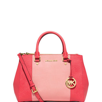 Sutton Medium Saffiano Satchel Bag, Watermelon/Pink - MICHAEL Michael Kors