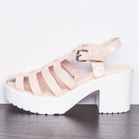 Layla Nude Platform Heeled Sandals at misspap.co.uk