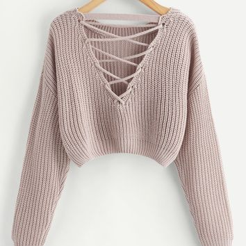 Double V Chunky Knit Jumper- Rose