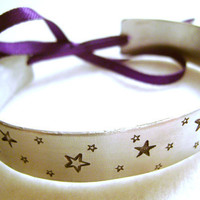Star Metal Stamped Cuff Bracelet Bangle with Ribbon