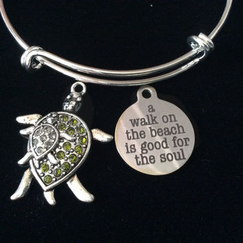 Turtle Mom and Baby A Walk on the Beach Expandable Charm Bracelet Ocean Nautical Gift Silver Adjustable Bangle Starfish
