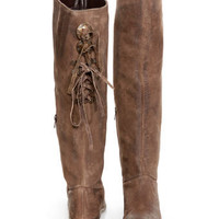 Naughty Monkey Bullet Brown Leather Laced Back Riding Boots - $104.00