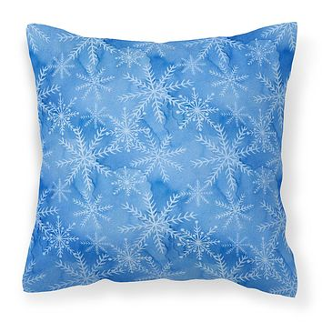 Watercolor Dark Blue Winter Snowflakes Fabric Decorative Pillow BB7576PW1818