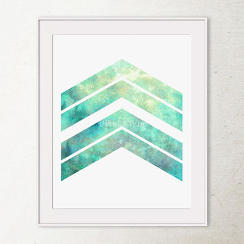 Chevron Arrows Print, Arrow Art print, Turquoise Chevron Art Print, Arrow Wall Decor, PRINTABLE Abstract Geometric Wall Art, Chevron Decor
