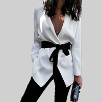 Women Fashion Simple Solid Color Bodycon Long Sleeve Strappy Waistband Lapel Suit Coat