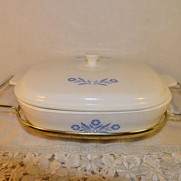 "Corning Ware Pyroceram Lid 10"" Cornflower Blue Dish Vintage Corningware Casserole Pan Lid with Gold Tone Serving Stand Replacement Bakeware"