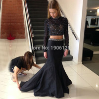 Black Sparkly Ctystal Bead 2 Piece Homecoming Dresses Long Sleeve Mermaid 8th Grade Prom Dresses Gowns Semi Formal Dress