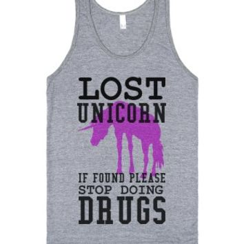 Lost unicorn if found stop doing drugs tank top t shirt tee-Tank