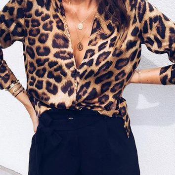 Brown Plunge Leopard Print Long Sleeve Blouse